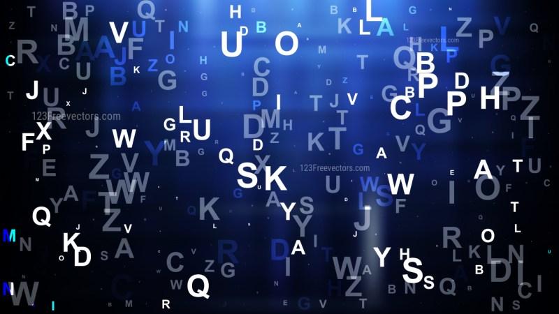 Abstract Black and Blue Random Alphabet background