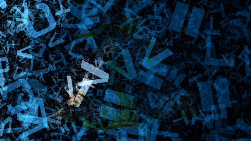 Black and Blue Chaotic Letters Texture