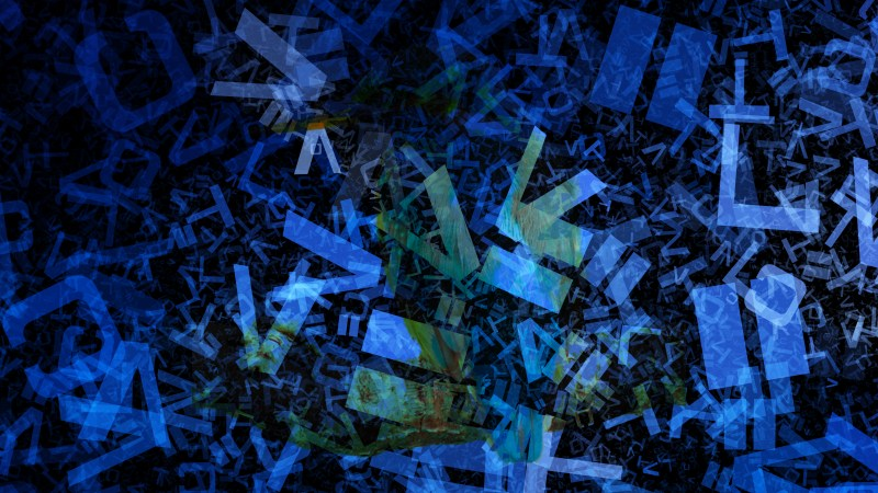 Black and Blue Chaotic Alphabet Letters Texture