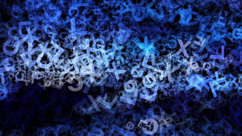 Black and Blue Scattered Alphabet Texture Background
