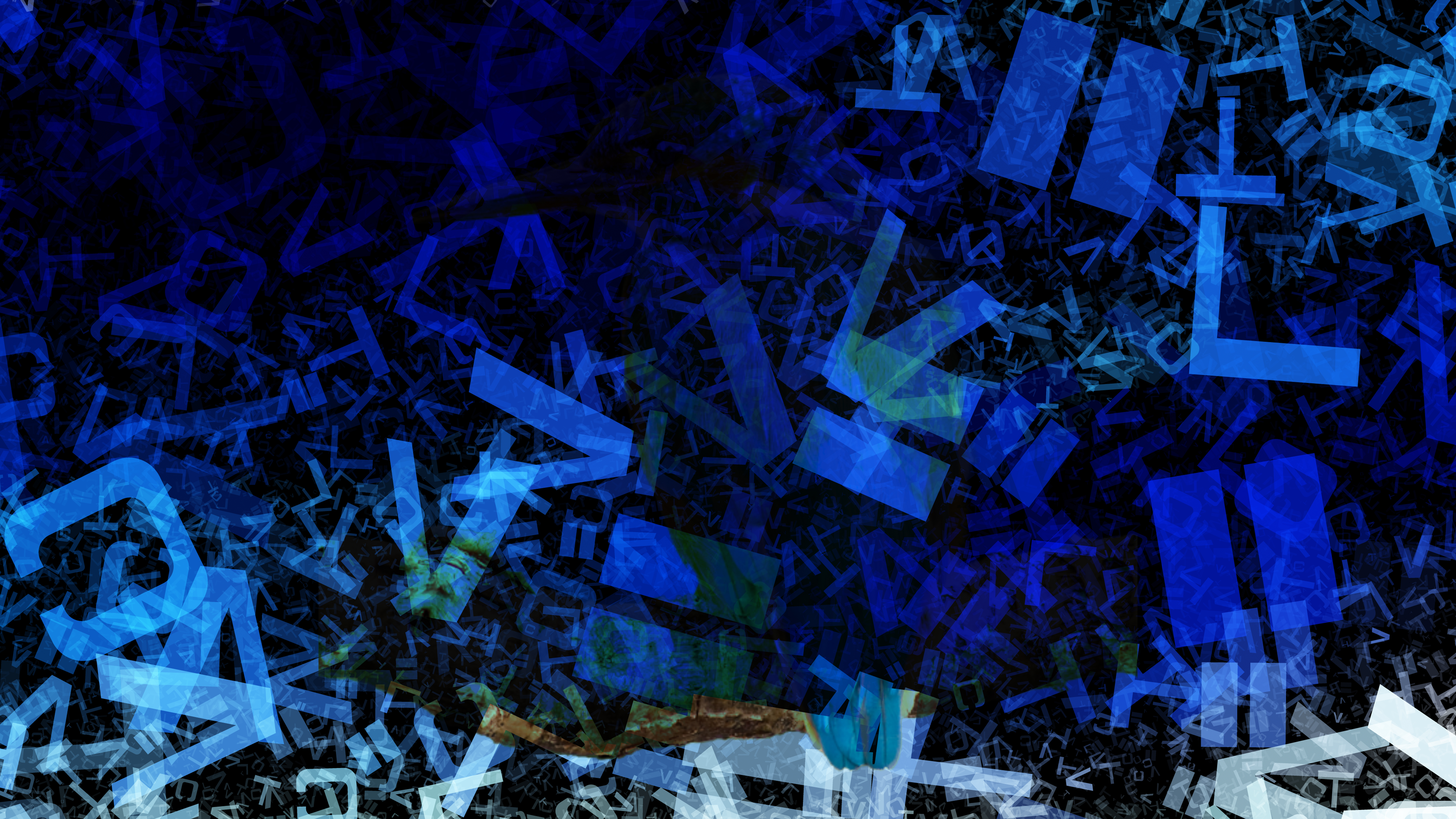 Black and Blue Chaos Alphabet Letters Texture Background