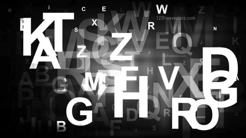 Abstract Black and White Letters Background