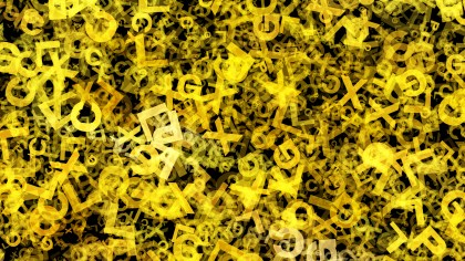Black and Yellow Scattered Letters Texture Image