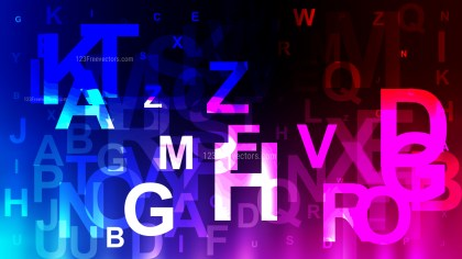 Abstract Black Pink and Blue Random Alphabet Letters Background
