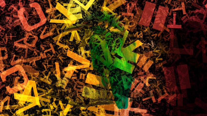 Black Red and Orange Chaotic Alphabet Letters Texture Image