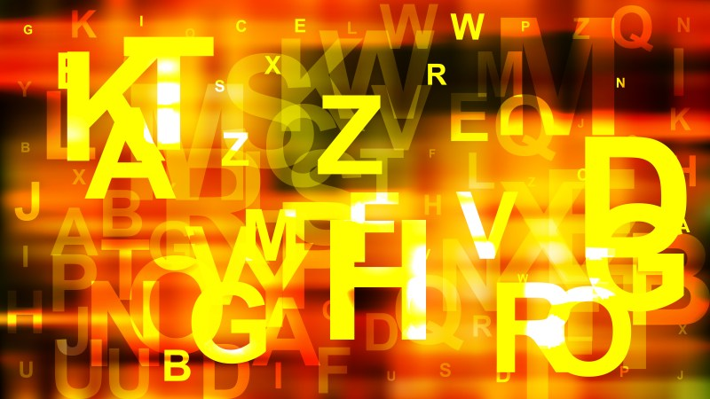 Black Red and Yellow Random Letters Background Illustrator