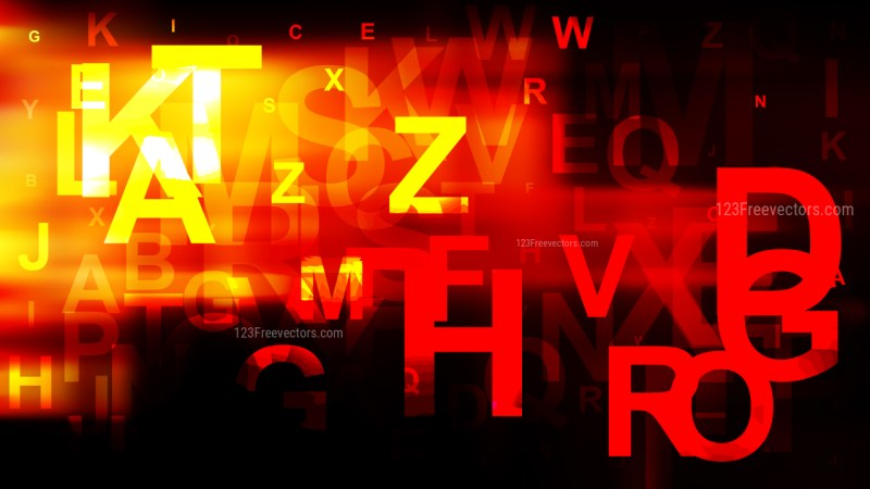 Abstract Black Red and Yellow Letters Background