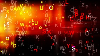 Abstract Black Red and Yellow Random Alphabet Letters Background