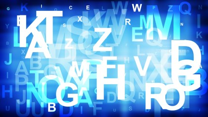 Blue and White Scattered Alphabet Background Illustrator