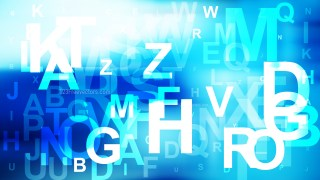 Blue and White Scattered Alphabet Letters Background Vector Illustration