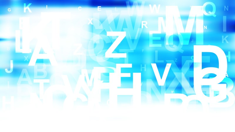 Abstract Blue and White Scattered Alphabet Background