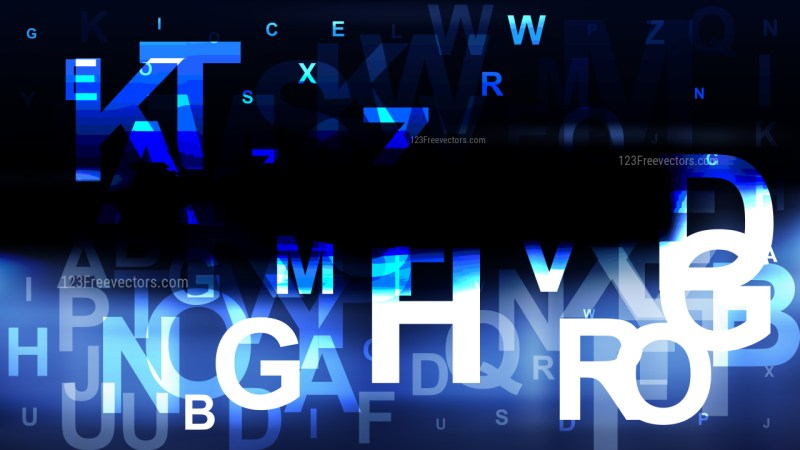 Blue Black and White Random Letters Background Graphic