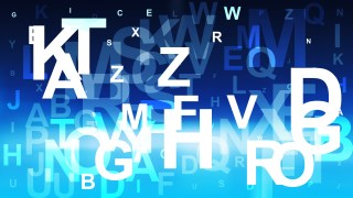 Abstract Blue Black and White Scattered Alphabet Letters Background