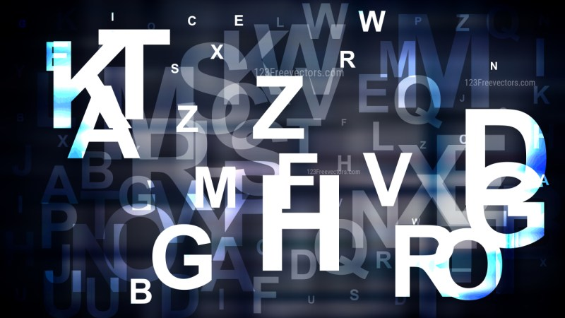 Blue Black and White Random Alphabet Letters Background