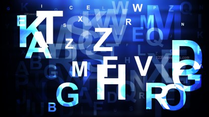 Blue Black and White Scattered Alphabet Letters Background