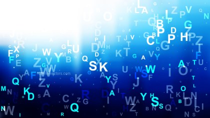 Abstract Blue Black and White Scattered Letters Background