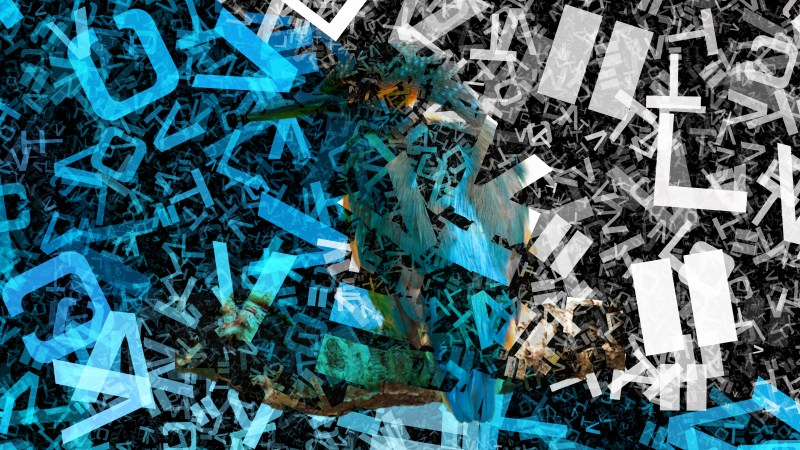 Blue Black and White Scattered Alphabet Letters Texture Background