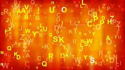 Bright Orange Scattered Alphabet Background Design