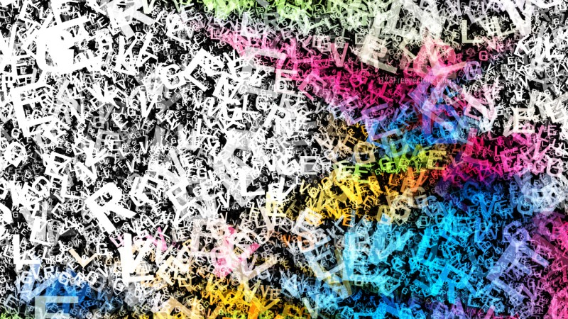 Colorful Scattered Alphabet Letters Texture Image