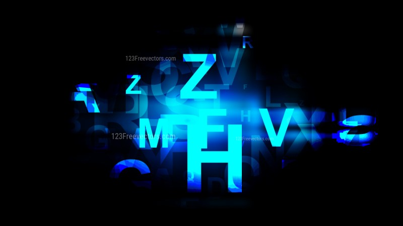 Cool Blue Scattered Alphabet Background Vector Graphic