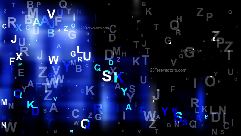 Abstract Cool Blue Scattered Alphabet Background Vector