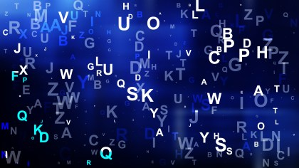 Abstract Cool Blue Scattered Alphabet Letters Background Vector Art