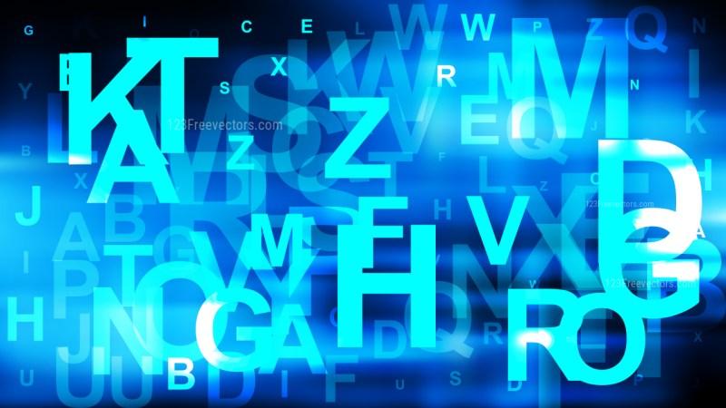 Cool Blue Random Alphabet Letters Background Illustrator