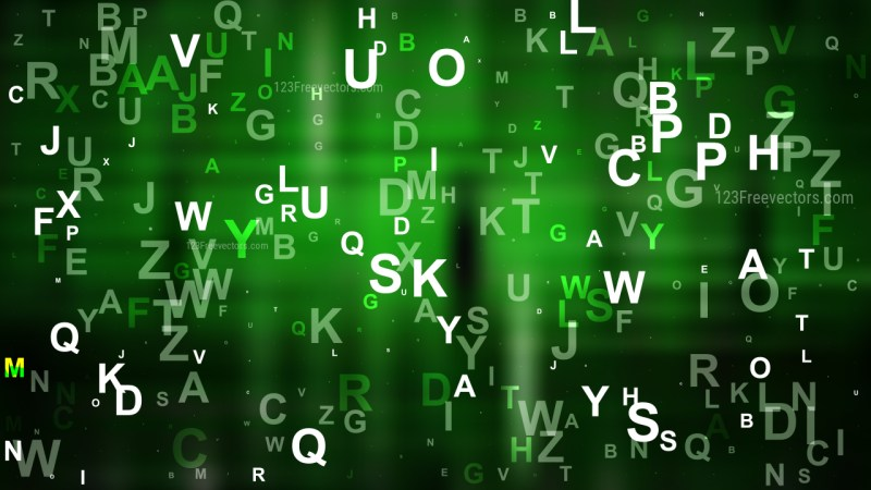 Cool Green Scattered Alphabet Background
