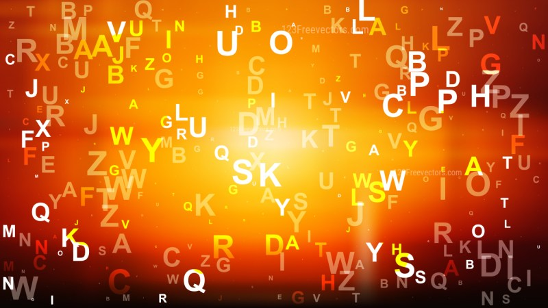 Abstract Cool Orange Alphabet Letters Background