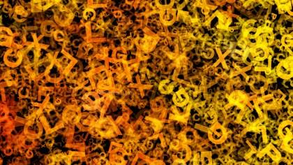 Dark Orange Scattered Alphabet Letters Texture Image