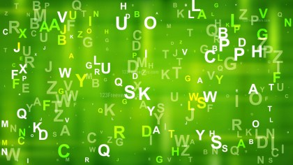 Green Random Alphabet Letters Background Design