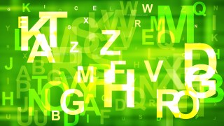 Abstract Green and Yellow Scattered Alphabet Letters Background Vector Image