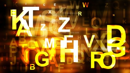 Orange and Black Scattered Alphabet Letters Background Vector Image