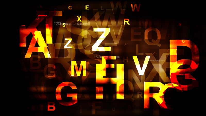 Abstract Orange and Black Random Alphabet Letters Background Graphic