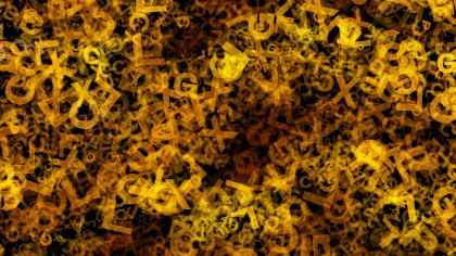 Orange and Black Alphabet Letters Chaos Texture