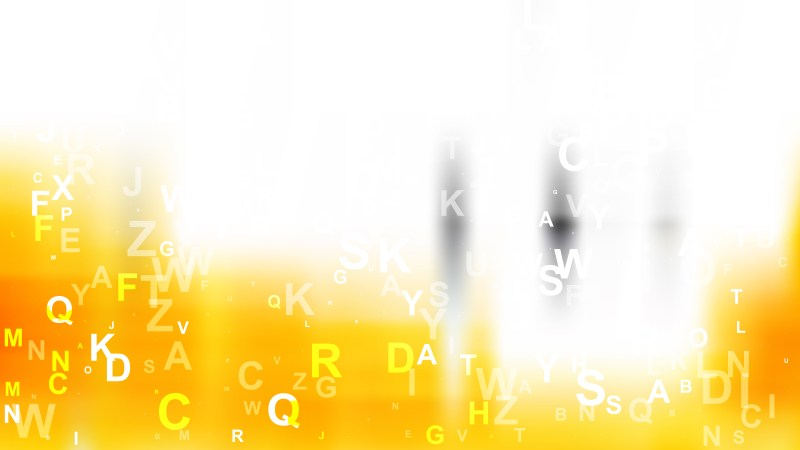 Orange and White Scattered Letters Background