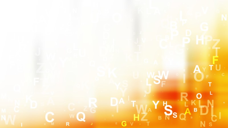 Orange and White Scattered Alphabet Background