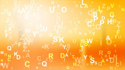 Orange and White Scattered Alphabet Letters Background