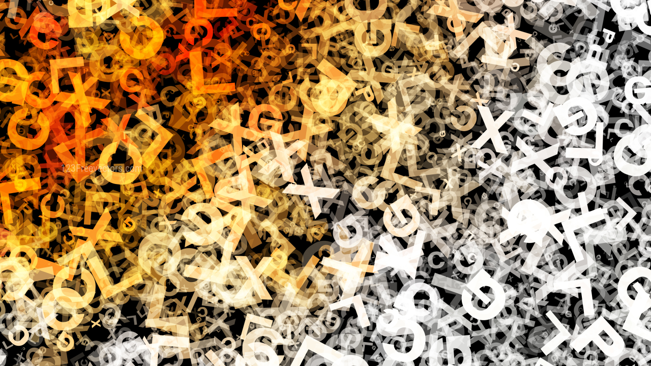 Orange Black and White Chaos Alphabet Letters Texture Background Image
