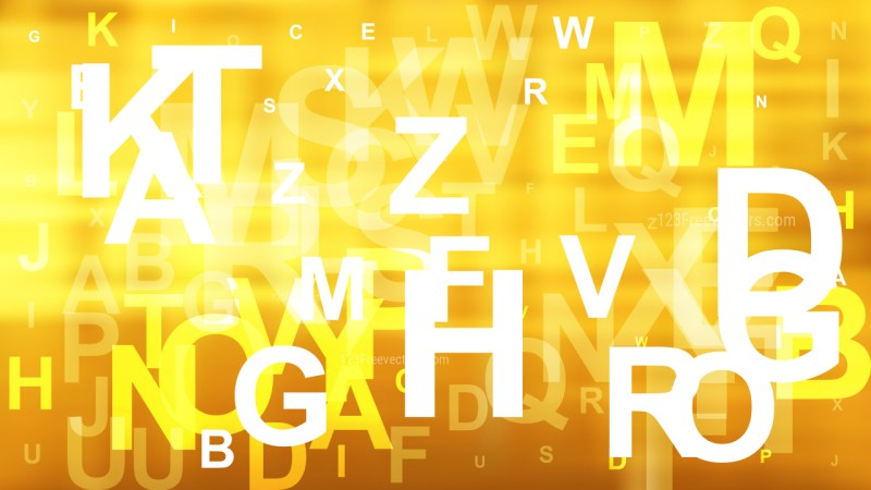 Abstract Orange Yellow and White Scattered Letters Background Illustration