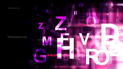 Abstract Pink Black and White Random Letters Background