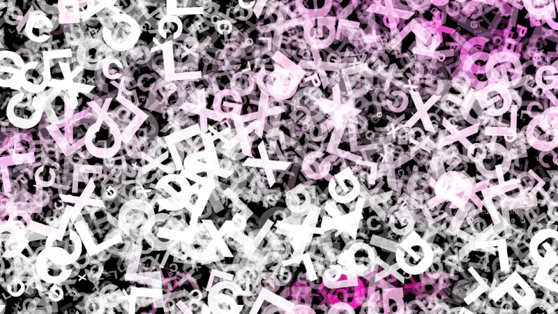 Pink Black and White Random Alphabet Letters Texture