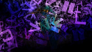 Purple and Black Random Letters Chaos Background Image
