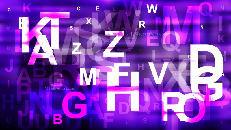 Abstract Purple Black and White Scattered Alphabet Letters Background