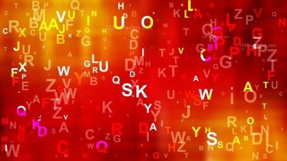 Abstract Red and Orange Scattered Letters Background