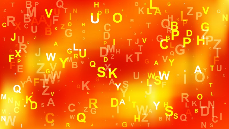 Abstract Red and Yellow Random Alphabet background Vector Art