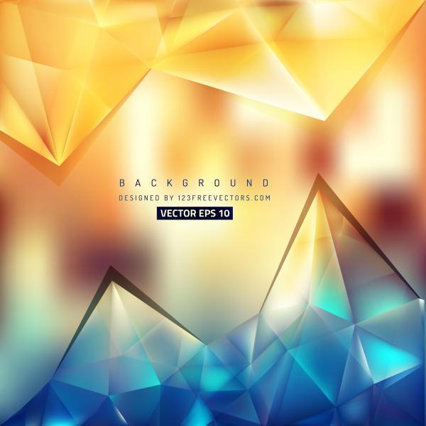 Abstract Blue Orange Geometric Triangle Background Design