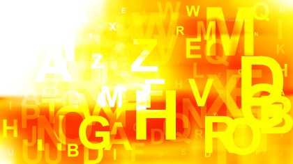 Abstract Red White and Yellow Random Letters Background Vector Graphic