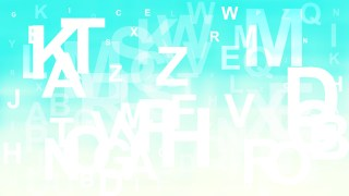 Turquoise and White Scattered Alphabet Letters Background