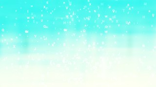 Abstract Turquoise and White Scattered Alphabet Letters Background